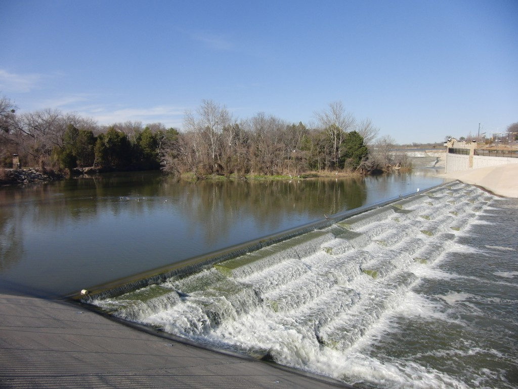 The spillway and cascades at White Rock Lake.