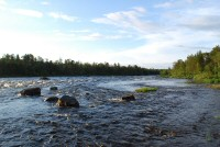 The Juutua River running behind our hotel in Inari