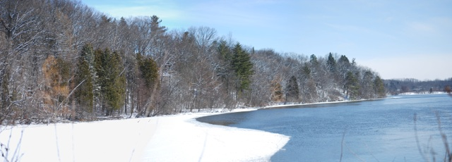 A fresh coat of snow covers the trees on the Pond's northern shore, but the retreating ice shows that spring is getting near.