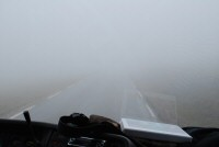 Heavy fog on the island of Magerøya, en route to the North Cape