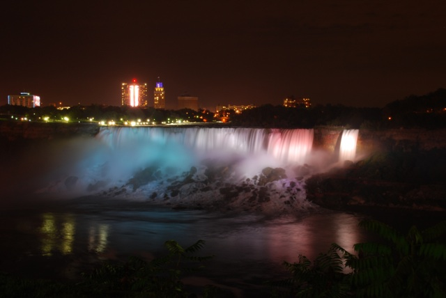 The American Falls and Bridal Veil Falls at night.