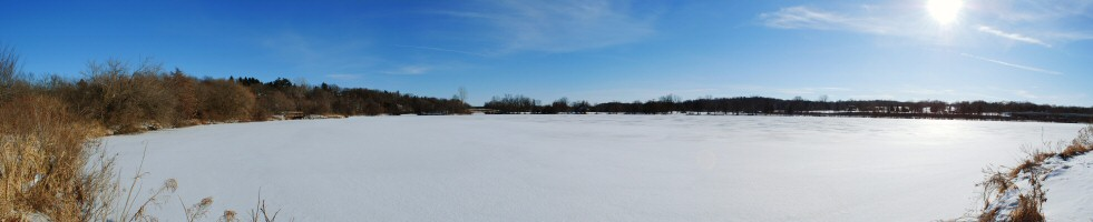 180-degree panorama of Geddes Pond in Ann Arbor, MI