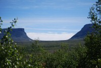 The twin peaks east of Abisko National Park