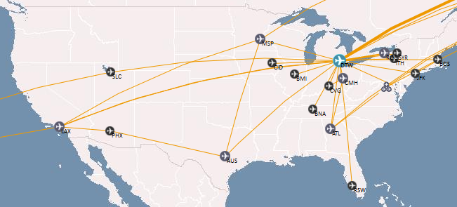 A map of my flights within the US through January 2013.