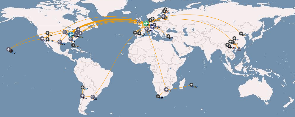 Overview map of all my flights up to January 2013.